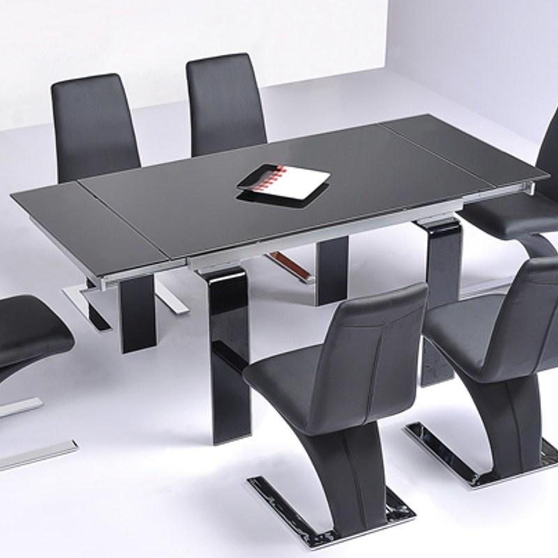 Table en verre noire a rallonge extensible jazz 1 for Table verre rallonge extensible